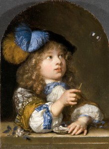 Bellenblazende Jongen, Caspar Netscher 1676. Mauritshuis Den Haag, bruikleen de heer & mevrouw Vellekoop, 2011