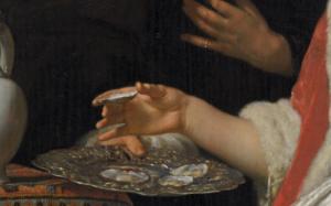 Detail van Het Oestermaal, van Frans van Mieris de Oude
